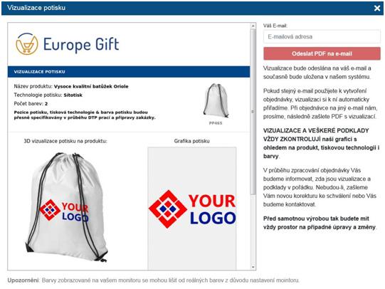 Online vizualizace loga - vizualizace potisku